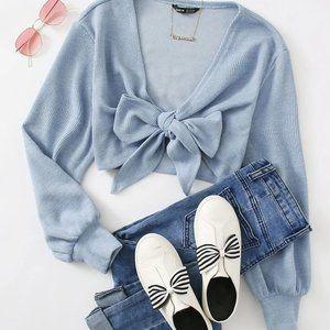 SHEIN Tie Front Rib-knit Crop Top